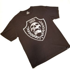 Van's Gray Skull Graphic Short Sleeve Tee Shirt